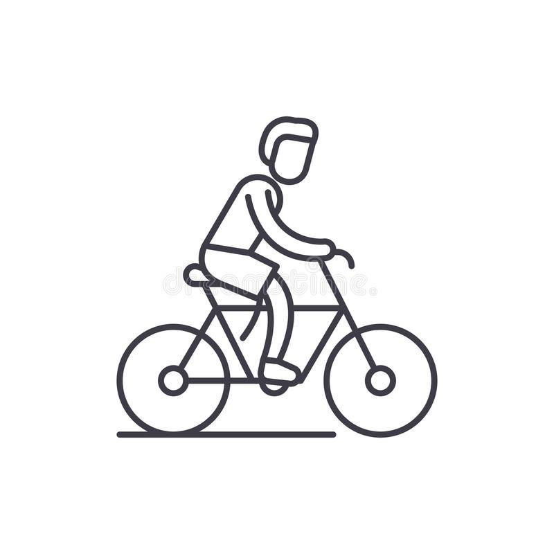 Cycling trip line icon concept. Cycling trip vector linear illustration, symbol, sign vector illustration