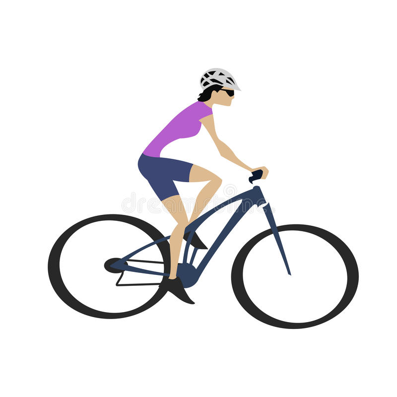 Cycling woman in purple jersey with blue bike stock illustration