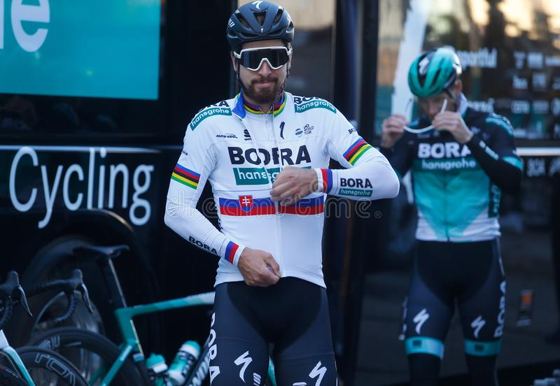 2018 Cycling World Champion Slovenia Peter Sagan before training session7 royalty free stock photo