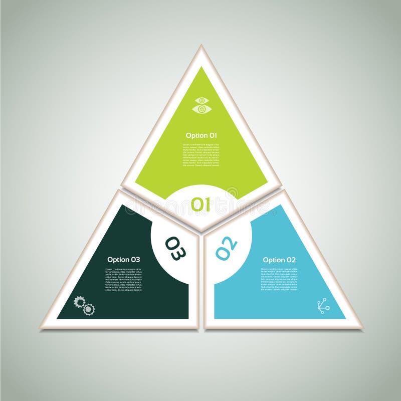 Cyclisch diagram met drie stappen en pictogrammen stock illustratie