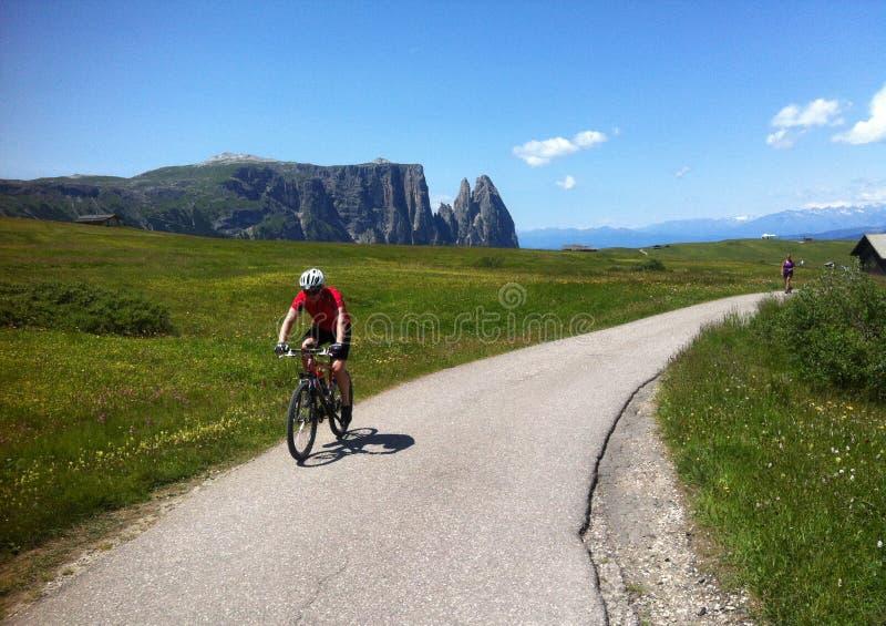 Cyclist in Alpe di Siusi royalty free stock image