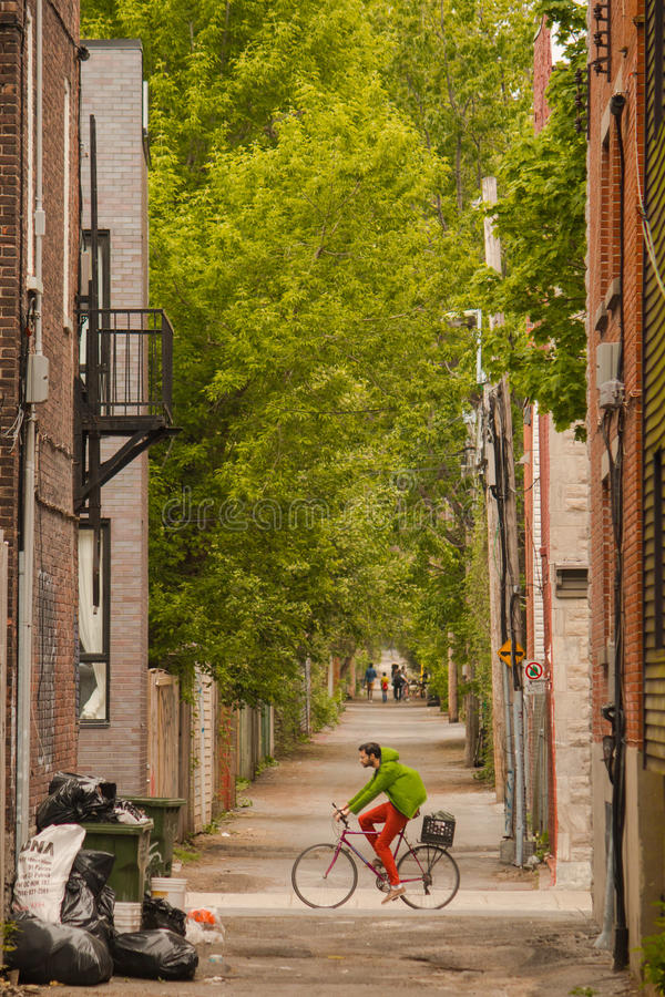 Cyclist in the backstreets royalty free stock photography