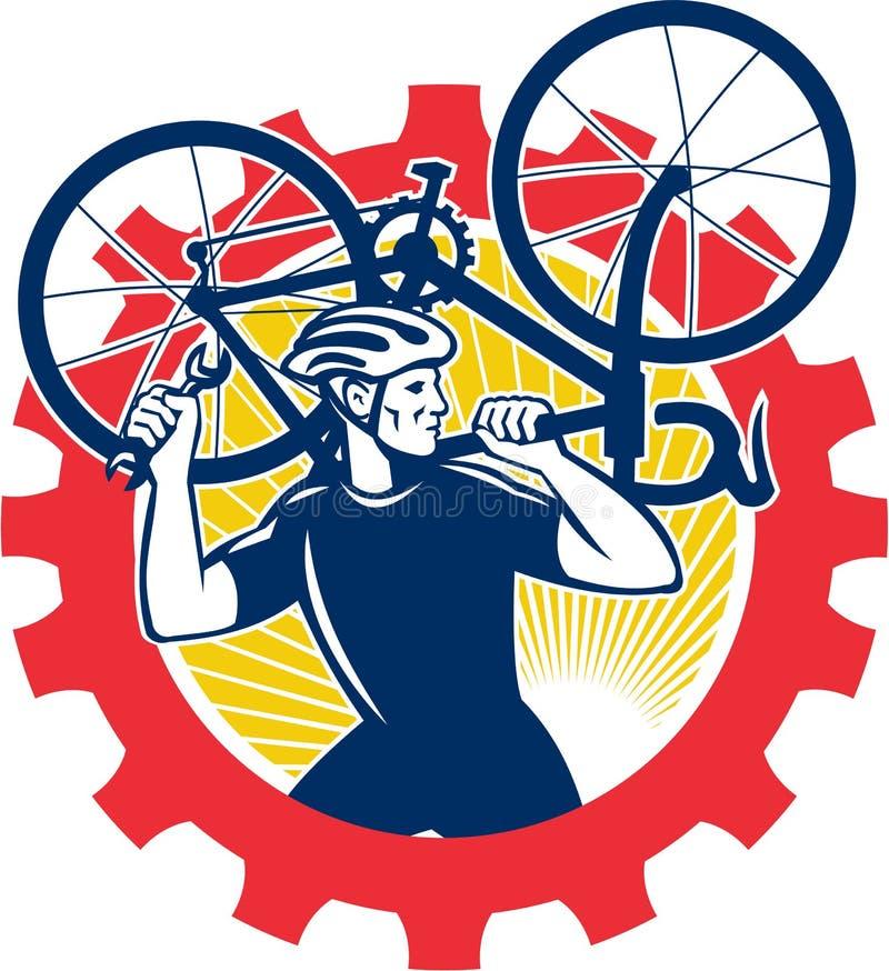 Cyclist Bicycle Mechanic Carrying Bike Sprocket Retro Stock Photos