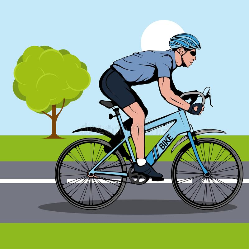 Cyclist on a bicycle. Sports bike. Bicycle helmet. Man riding a bike. Vector graphics to design royalty free illustration