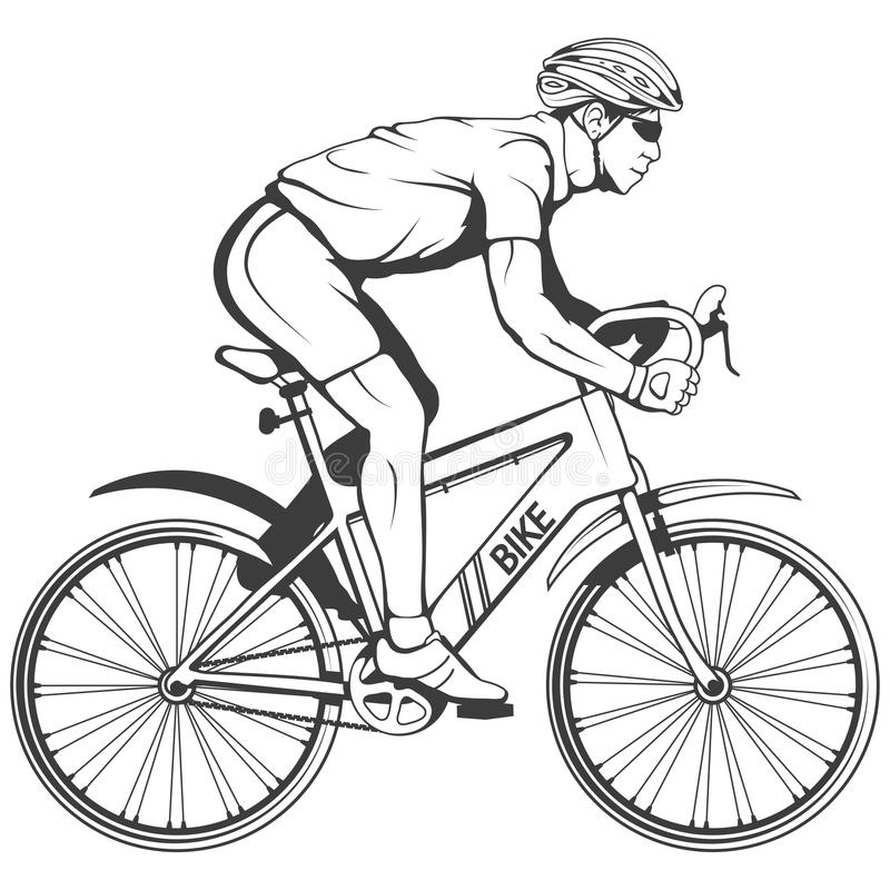 Cyclist on a bicycle. Sports bike. Bicycle helmet. Man riding a bike. Vector graphics to design stock illustration