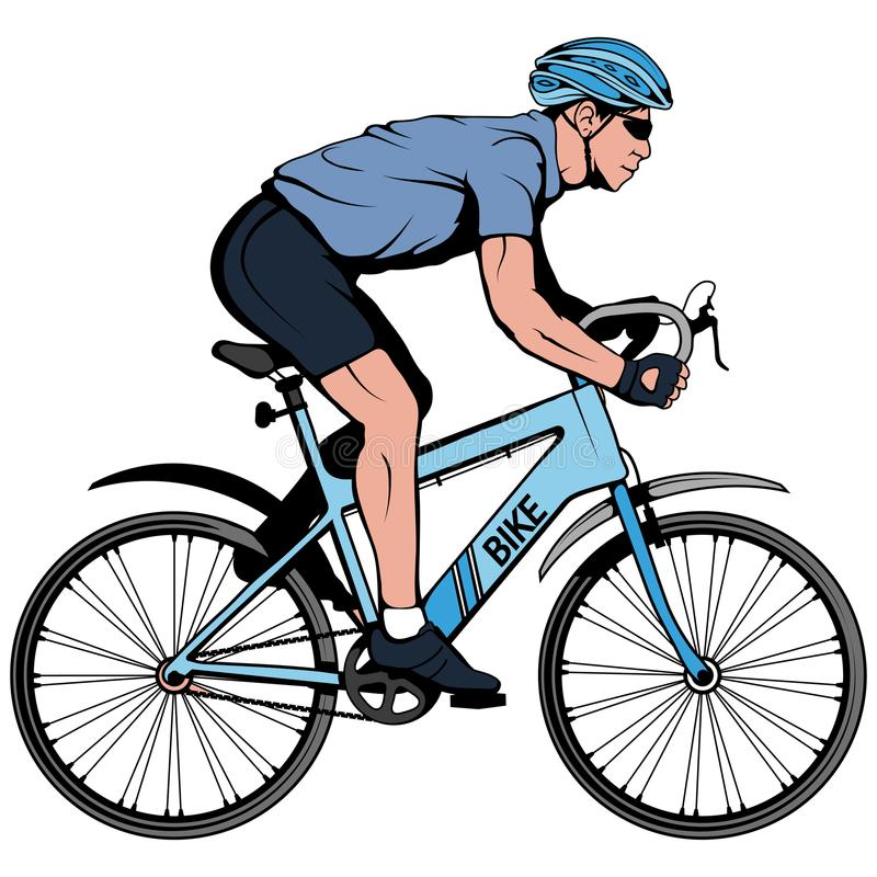Cyclist on a bicycle. Sports bike. Bicycle helmet. Man riding a bike. Vector graphics to design vector illustration