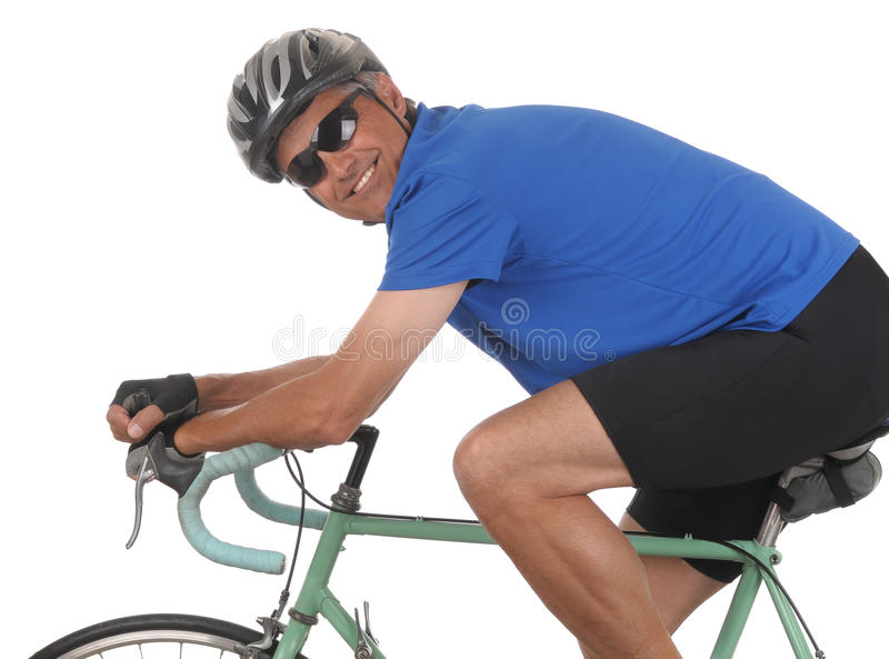 Download Cyclist on bike closeup stock photo. Image of male, helmet - 14375358