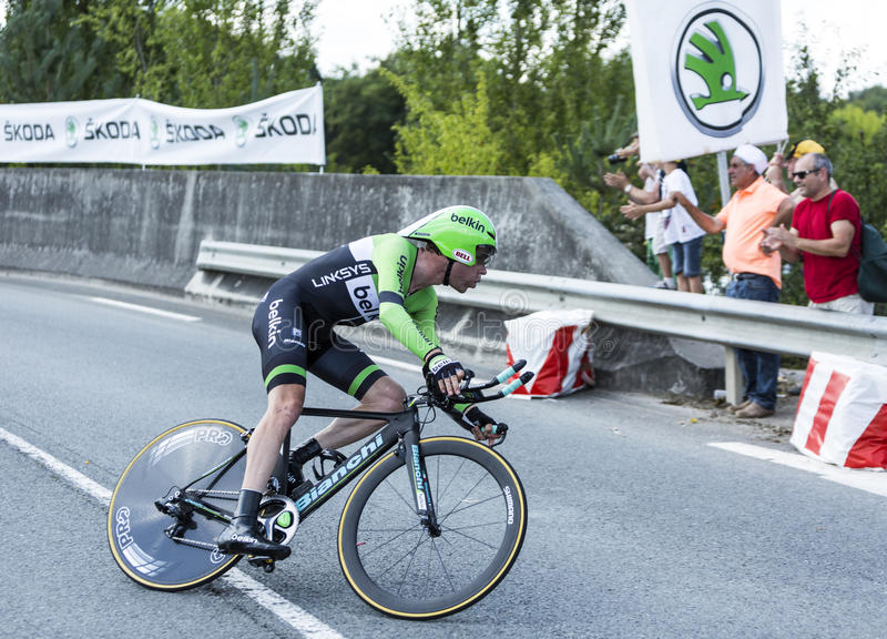 The Cyclist Bram Tankink - Tour de France 2014 royalty free stock images