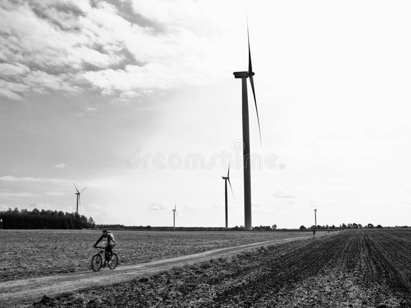 Cyclist in the countryside stock image