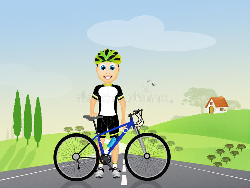 Cyclist in the countryside royalty free illustration