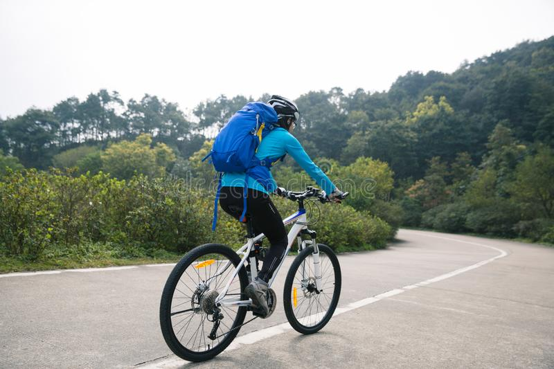 Cyclist cycling mountain bike royalty free stock images