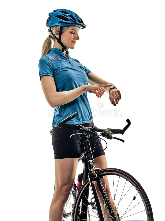 Cyclist cycling riding bicycle woman isolated white background t. One caucasian cyclist woman cycling riding bicycle time watch isolated on white background stock images