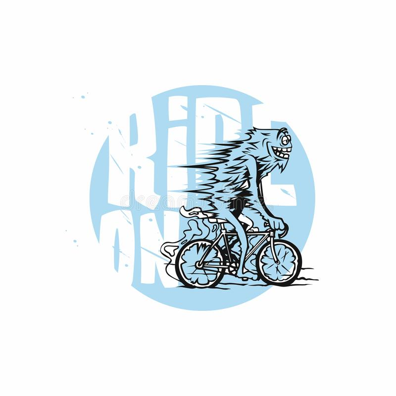 Cyclist, cycling blue, white, geometric, cyclist stylized vector illustration stock illustration