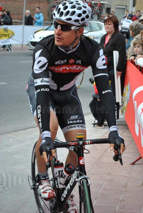 Cyclist Dominique Rollin. Dominique Rollin is a Canadian professional cyclist. Here he is preparing to start in the E3 Prijs Harelbeke royalty free stock photos
