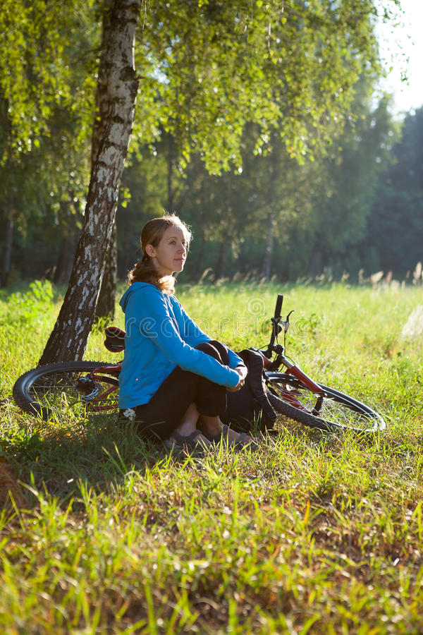 Download Cyclist Enjoying Relaxation In Spring In The Park Stock Image - Image of fresh, bicyclist: 27846855