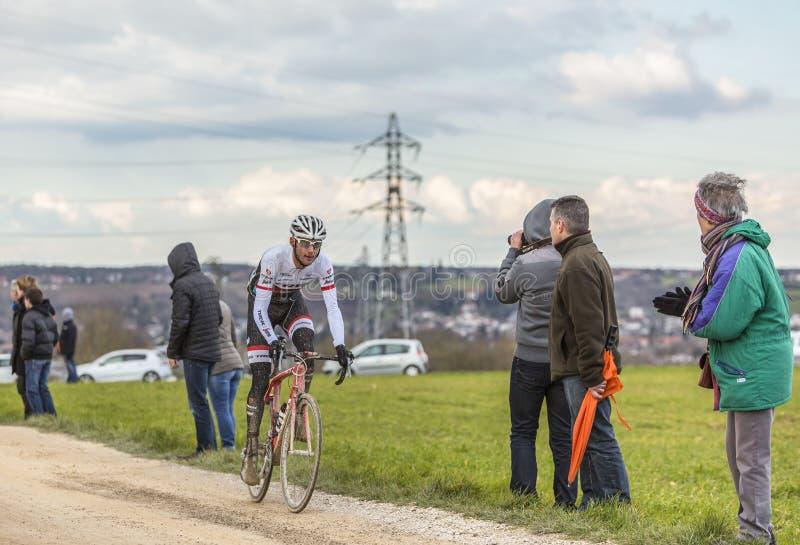 The Cyclist Frank Schleck - Paris-Nice 2016 stock image