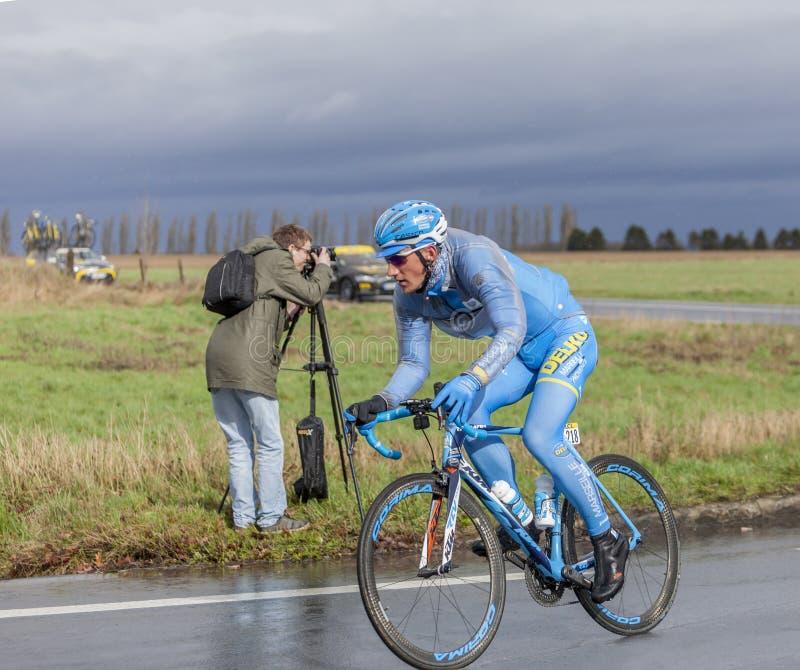 The Cyclist Gatis Smukulis - Paris-Nice 2017 stock images