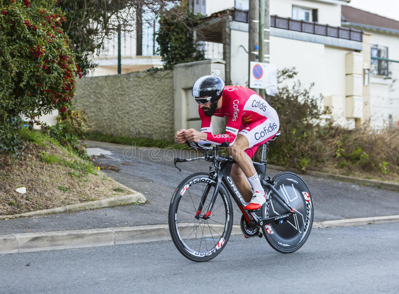 The Cyclist Geoffrey Soupe - Paris-Nice 2016. Conflans-Sainte-Honorine,France-March 6,2016: The French cyclist Geoffrey Soupe of Cofidis Team riding during the stock photo