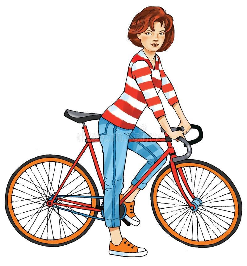 Cyclist girl sport figure sport bike sports steering wheel stock photo