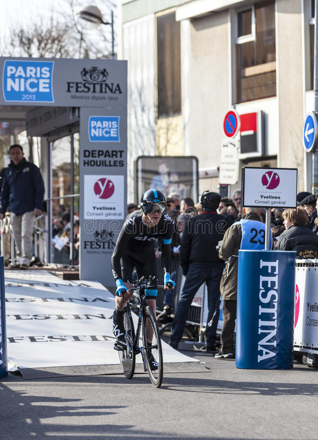 The Cyclist Ian Boswell- Paris Nice 2013 Prologue In Houilles Editorial Photography