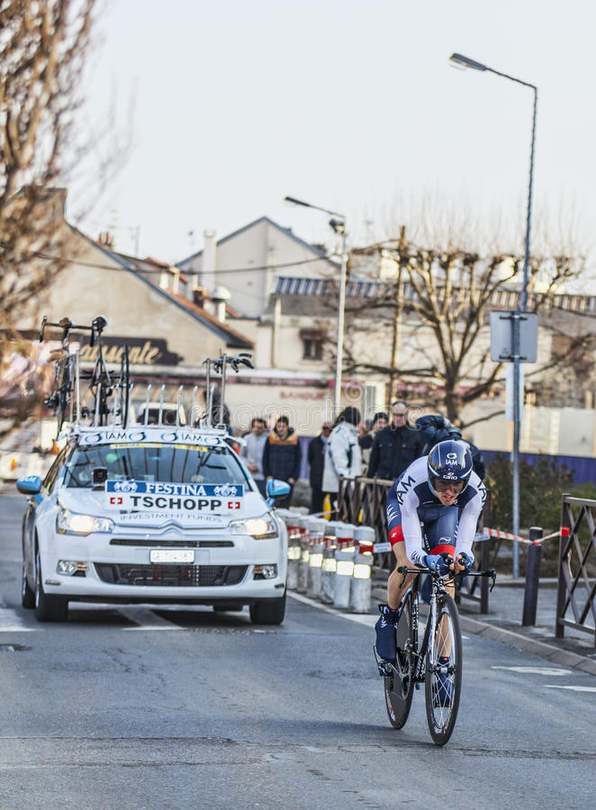 The Cyclist Johann Tschopp- Paris Nice 2013 Prologue In Houilles Editorial Stock Image
