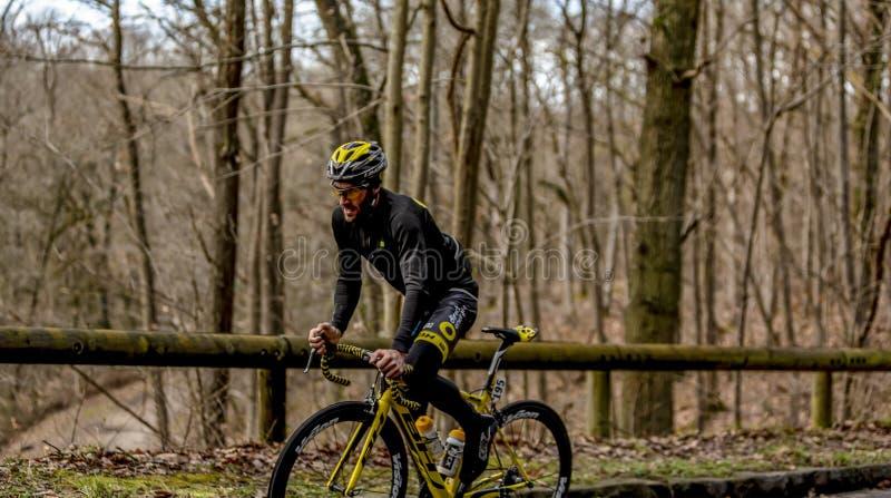 The Cyclist Jonathan Hivert - Paris-Nice 2017 stock photo