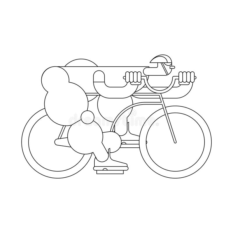 Cyclist Linear style. Bicycle race. Sports Vector illustration royalty free illustration