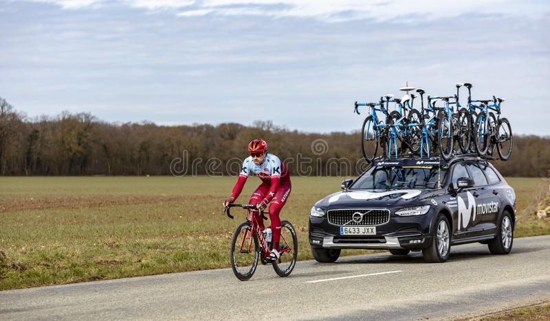 The Cyclist Marco Haller - Paris-Nice 2018 royalty free stock photo