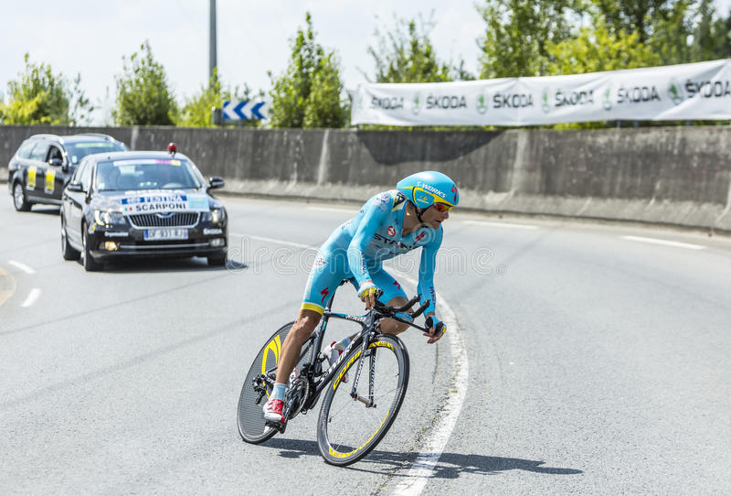 The Cyclist Michele Scarponi - Tour de France 2014 royalty free stock photography