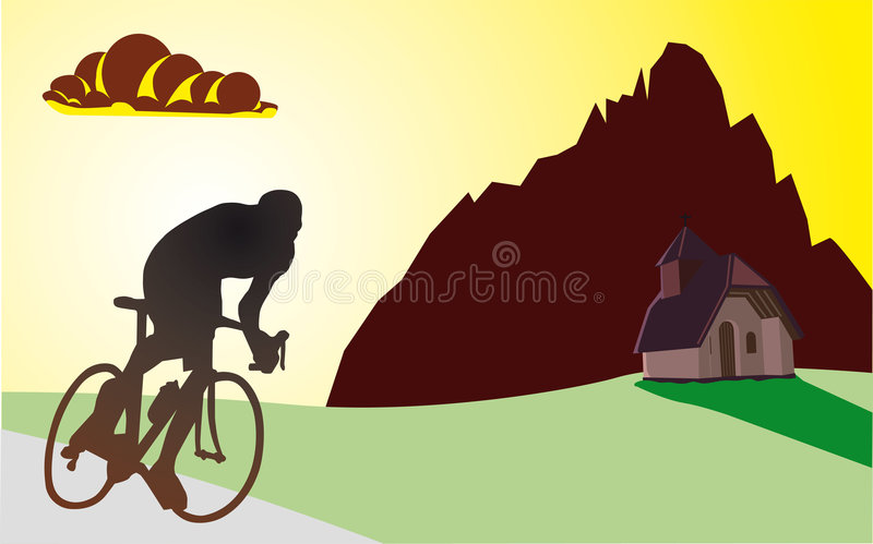 Cyclist in the mountains royalty free illustration