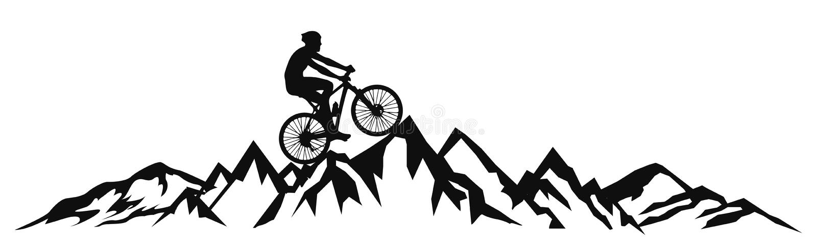 Cyclist in the mountains - vector royalty free illustration