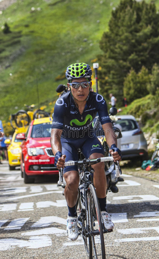 The Cyclist Nairo Alexander Quintana Rojas. Col de Pailheres,France- July 06 2013:The Colombian cyclist Nairo Alexander Quintana Rojas from Movistar Team stock photography