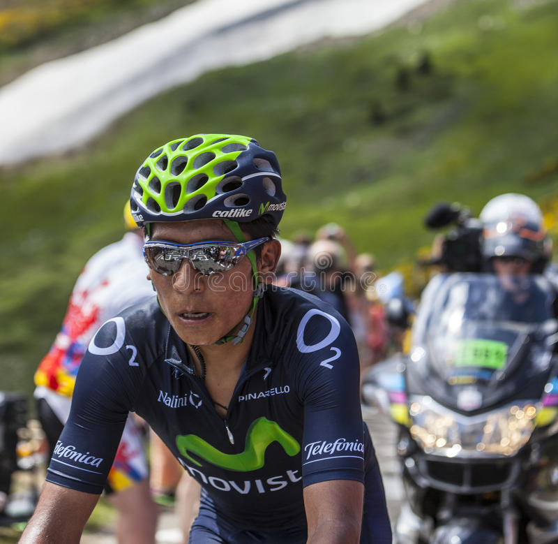 The Cyclist Nairo Alexander Quintana Rojas. Col de Pailheres,France- July 06 2013: Environmental portrait of the Colombian cyclist Nairo Alexander Quintana Rojas stock photography