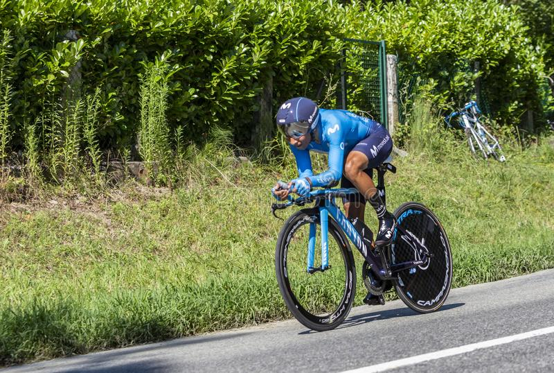 The Cyclist Nairo Quintana - Tour de France 2019. Bosdarros, France - July 19, 2019: The Colombian cyclist Nairo Quintana of Team Movistar riding during stage 13 stock photography