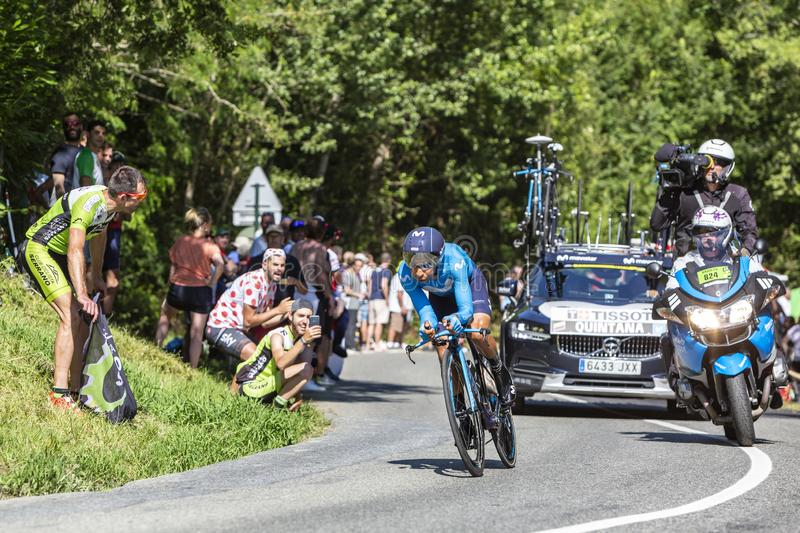 The Cyclist Nairo Quintana - Tour de France 2019. Bosdarros, France - July 19, 2019: The Colombian cyclist Nairo Quintana of Team Movistar riding during stage 13 royalty free stock image
