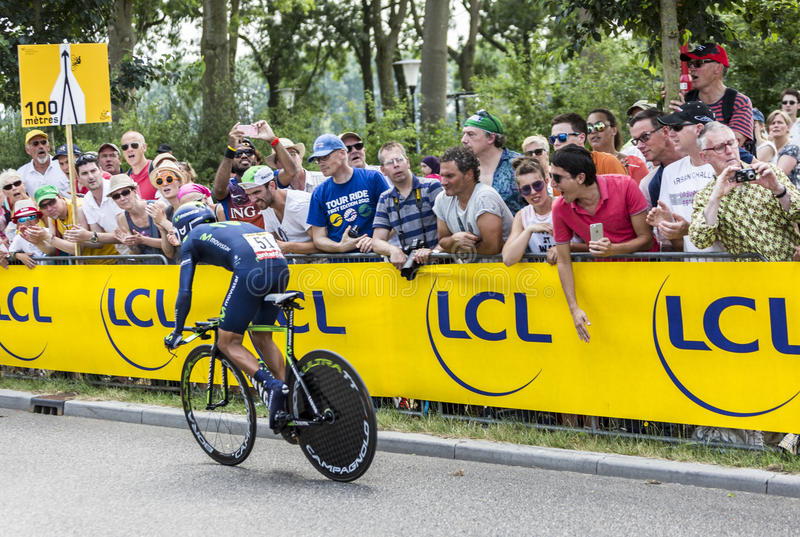 The Cyclist Nairo Quintana - Tour de France 2015. Utrecht,Netherlands - 04 July 2015: The Colombian clist Nairo Quintana of Movistar Team riding during the first stock photography