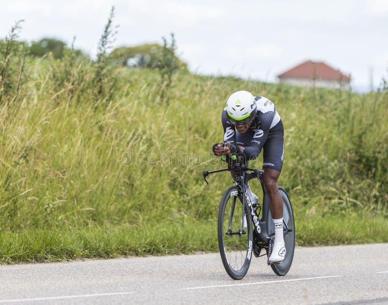 The Cyclist Natnael Berhane - Criterium du Dauphine 2017 stock photos