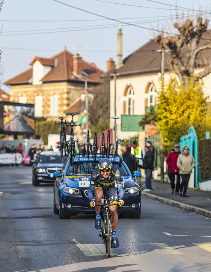 The Cyclist Nicolas Roche- Paris Nice 2013 Prologue in Houilles stock photography