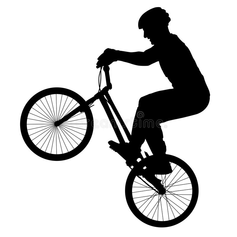 Cyclist performs a trick, rider trial silhouette, bike vector. stock illustration