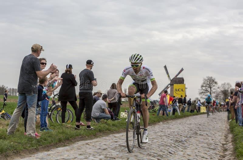 The Cyclist Pierre-Luc Perichon - Paris-Roubaix 2018 royalty free stock photo
