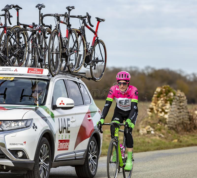The Cyclist Pierre Rolland - Paris-Nice 2018 royalty free stock photo