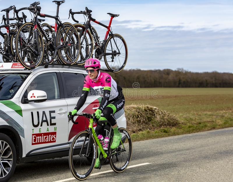 The Cyclist Pierre Rolland - Paris-Nice 2018 royalty free stock images