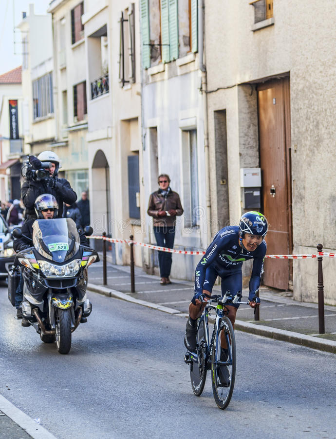 The Cyclist Quintana Rojas Nairo Alexander- Paris Nice 2013 Prologue in Houilles royalty free stock photo