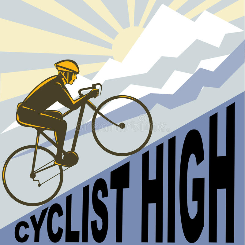 Cyclist racing bike mountain. Graphic design illustration of a Cyclist racing bike up steep mountain and clouds sunburst done in retro WPA style royalty free illustration