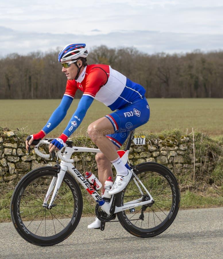 The Cyclist Ramon Sinkeldam - Paris-Nice 2018 royalty free stock photo