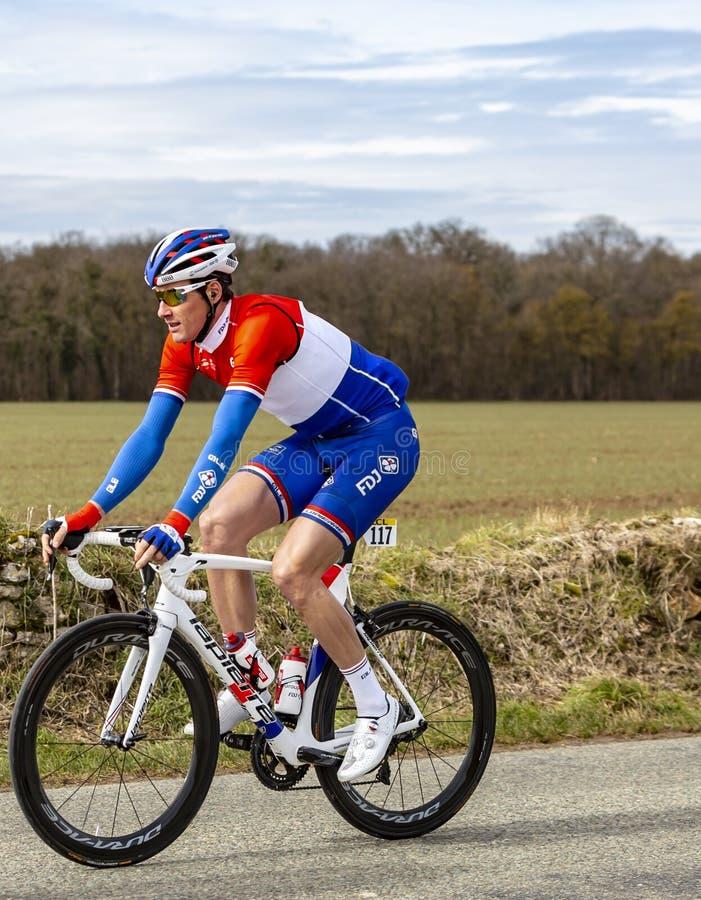 The Cyclist Ramon Sinkeldam- Paris-Nice 2018 royalty free stock images