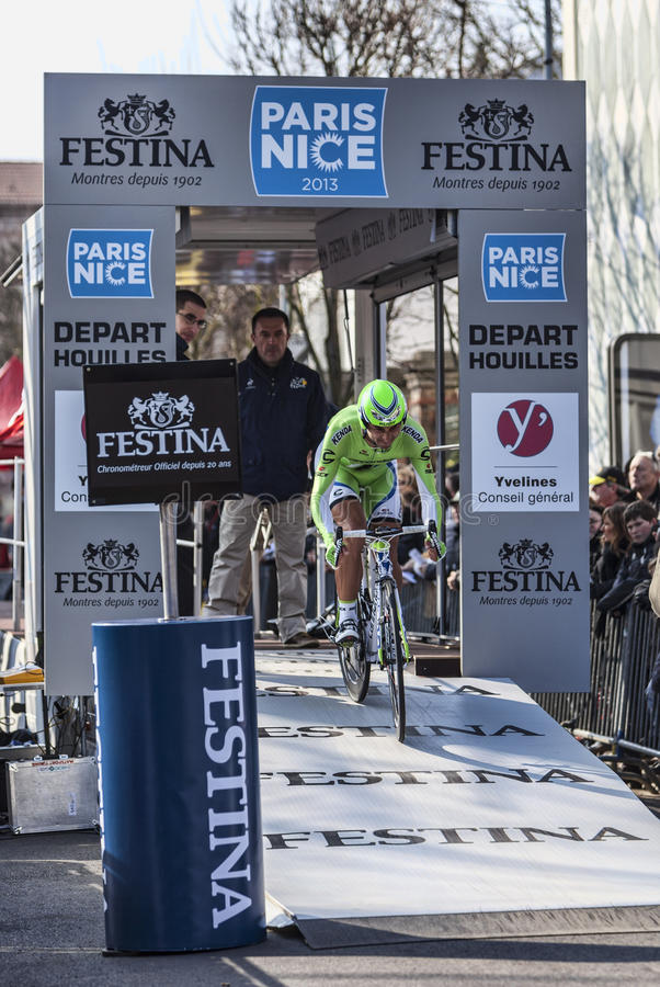 The Cyclist Ratto Daniele- Paris Nice 2013 Prologue In Houilles Editorial Stock Image