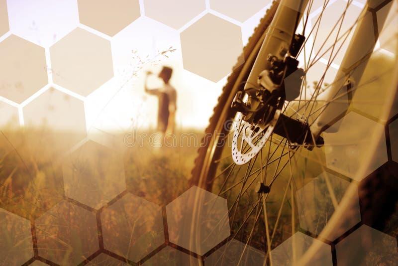 Cyclist relaxing stock photos