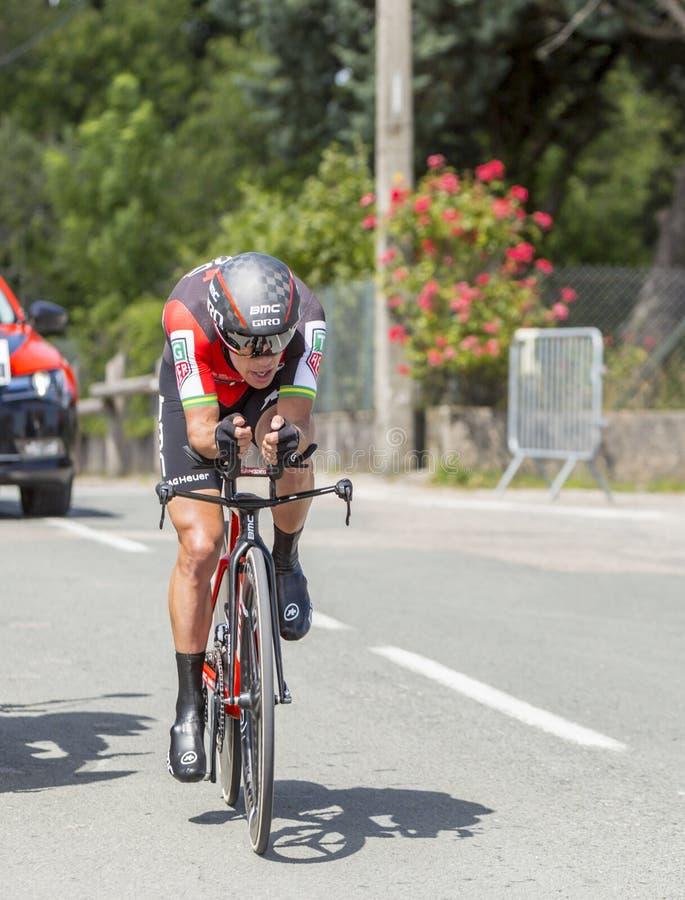The Cyclist Richie Porte - Criterium du Dauphine 2017. Bourgoin-Jallieu, France - 07, June, 2017: The Australian cyclist Richie Porte of BMC Team riding during stock photo