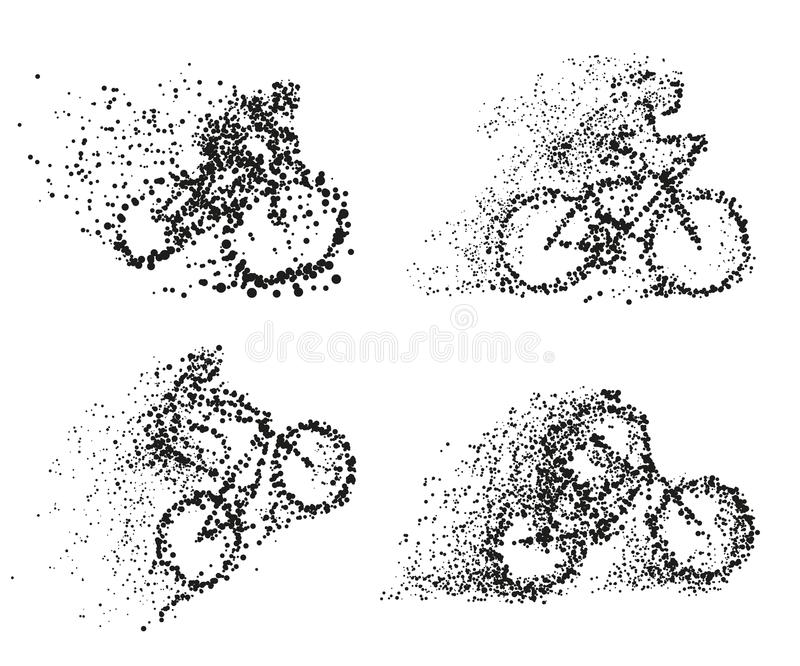 A cyclist rides a bicycle particle divergent silhouette. vector illustration